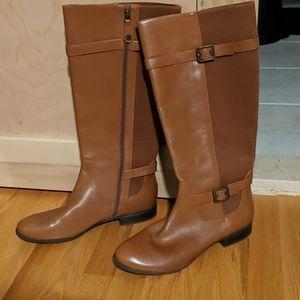 Isaac Mizrahi Live cognac leather riding boots